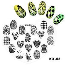 1 шт., шаблон для дизайна ногтей с изображением сердца, виноградные листья цветов, печатная пластина для маникюра, трафарет, 9x12 см
