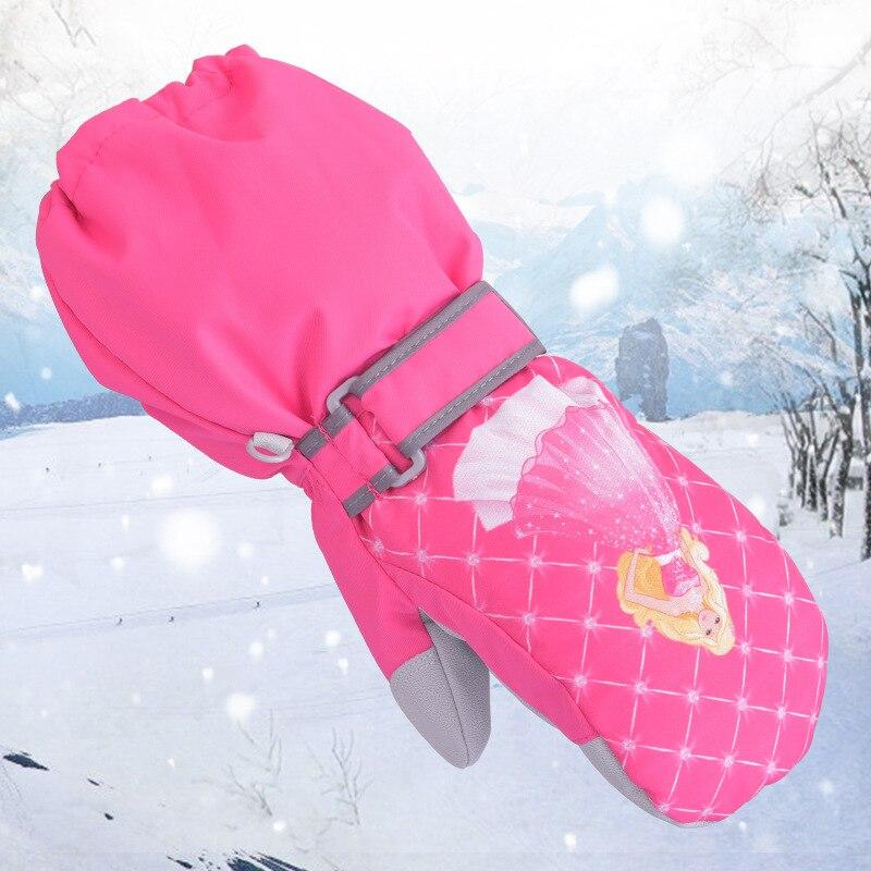Marsnow Cute Cartoon Winter Warm Ski Gloves Kids Snowmobile Mittens Skiing Snowboard Gloves Windproof Girl Boy Thick Velvet