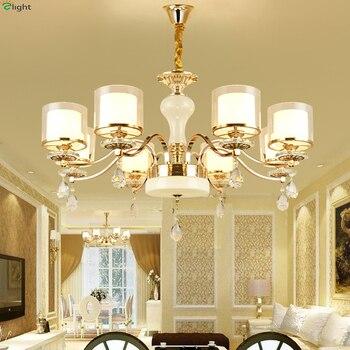 Modern Marble Led Chandeliers Lighting Gold Metal Living Room Led Pendant Chandelier Lights Dining Room Hanging Light Fixtures
