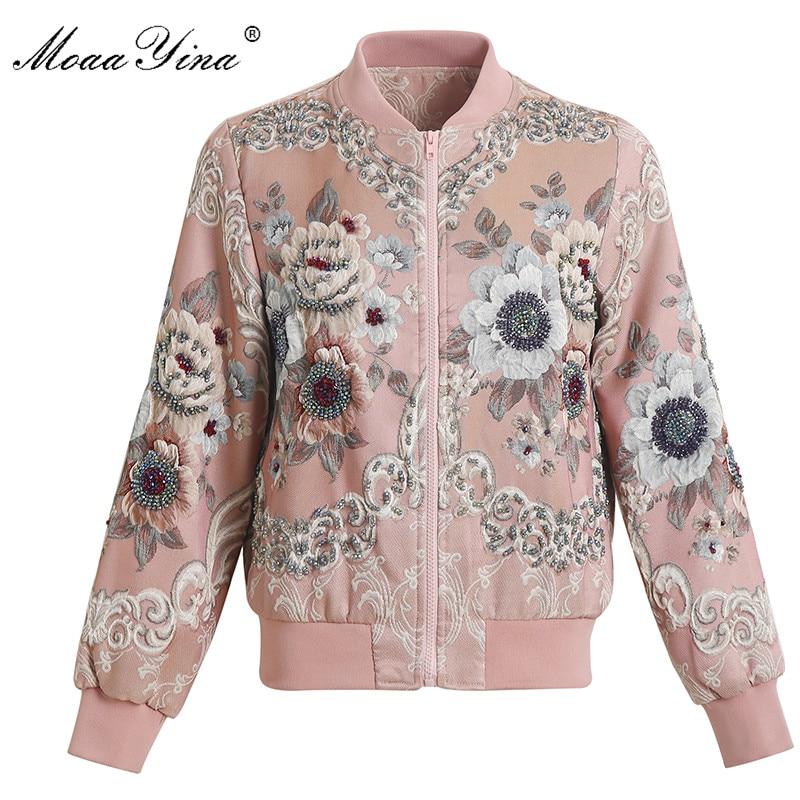 MoaaYina 2018 High Quality Fashion Designer Jacket jacket Autumn Women Floral Beading Diamond Casual Elegant Short