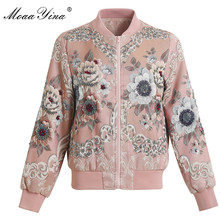 MoaaYina 2018 High Quality Fashion Designer Jacket jacket Autumn Women Floral Beading Diamond Casual Elegant Short