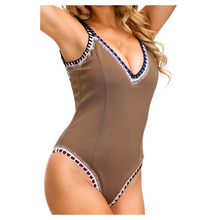 New Arrival Brown Color One Piece Swimsuit Sports Sexy Swimwear Women Shoulder Strap Scoop Back Maillot