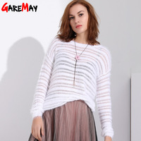 Spring Summer Knitted Transparent Vintage Blouses For Women Sexy Top Pink Blouse Knit Women Big Size