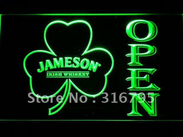 074 Jameson Whiskey Shamrock OPEN Bar LED Neon Light Signs