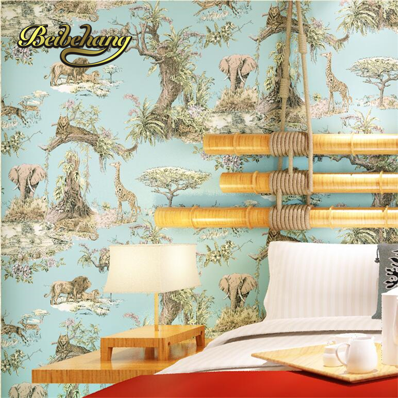 beibehang Southeast Asia style elephant giraffe non - woven living room bedroom bedside background wallpaper papel de parede tt tf ths 02b hybrid style black ver convoy asia exclusive