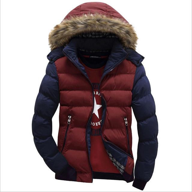 Moda 100% algodão homens jaqueta de inverno homens casaco de inverno Mais tamanho M-3XL Casacos Quentes Homens Sólidos grosso Casaco Quente Com Capuz casacos