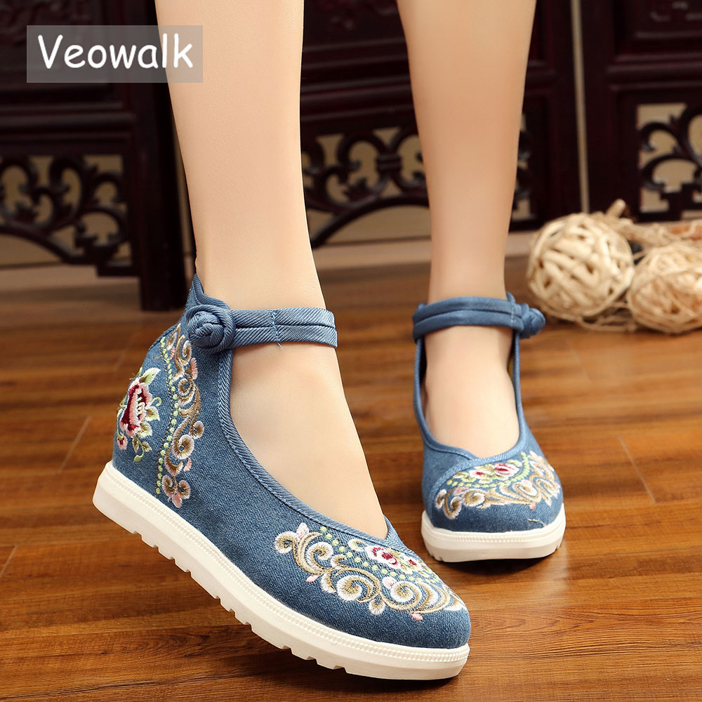 Veowalk High End Floral Embroidered Women Canvas Flat Platforms Mid Top Ankle Strap Chinese Style Ladies Casual Denim Shoes stylish mid waist cuffed denim ripped shorts for women