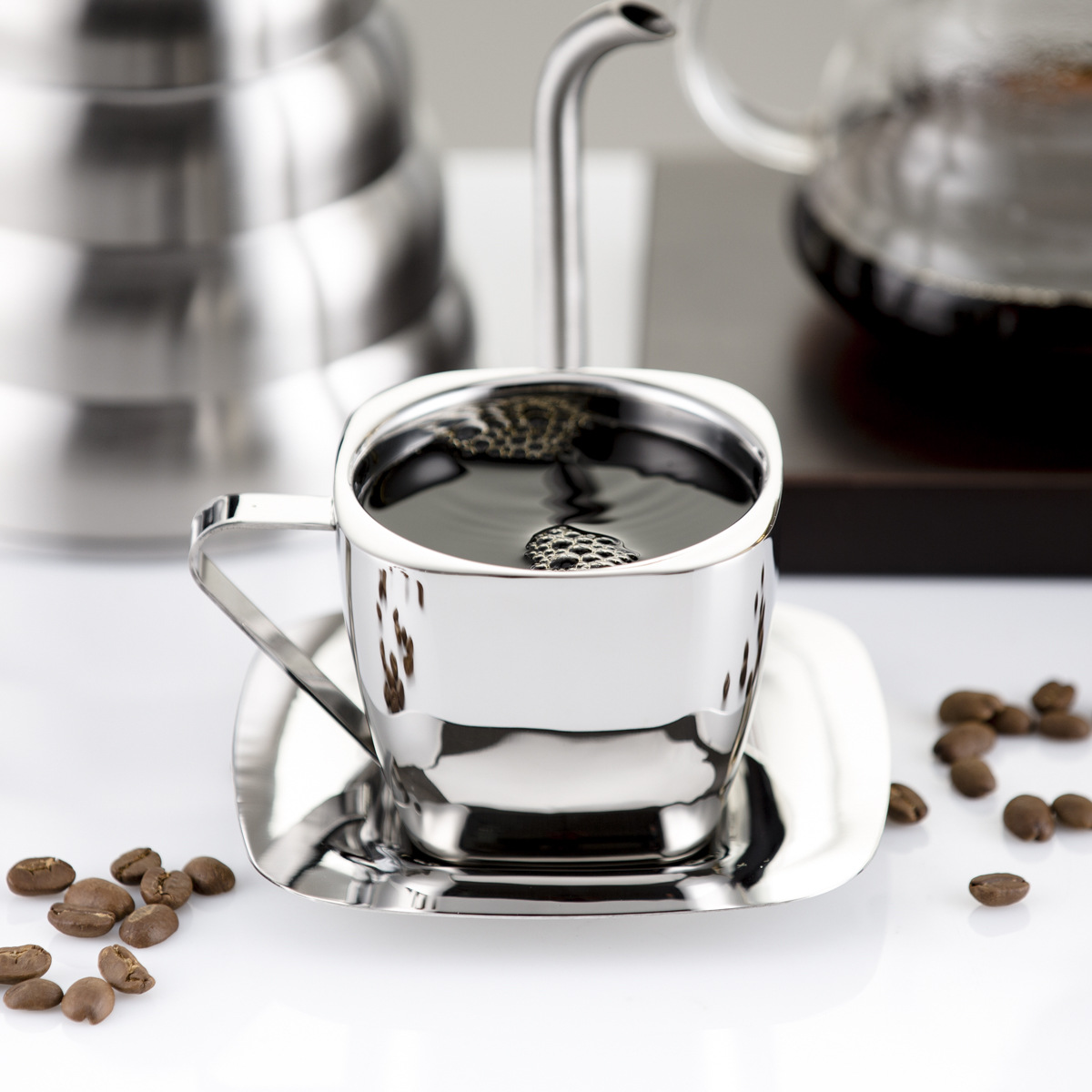 90/150/240ml Stainless Steel Coffee Cup Set Double Anti-hot Insulation Cups Creative Square Tea Cup and Saucer Milk Mug 1