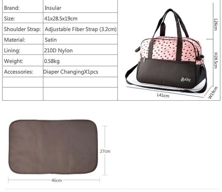 insular multifunctional diaper bags maternity mummy handbag baby care stroller bag High capacity mother Messenger nappy bags 2