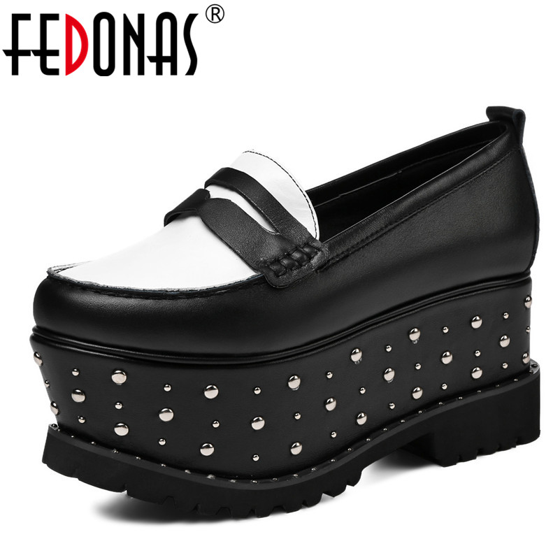 FEDONAS Fashion New High Platforms Shoes Woman Genuine Leather Punk Rivets Spring Autumn Sexy Party Shoes Slip On Pumps fedonas sexy punk black women genuine leather shoes woman sandals summer buckles rivets party shoes female platforms sandals