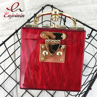 Good Quality Acrylic Metal Ring Box Style Fashion Design Diamond Ladies Handbag Party Purse Casual Totes