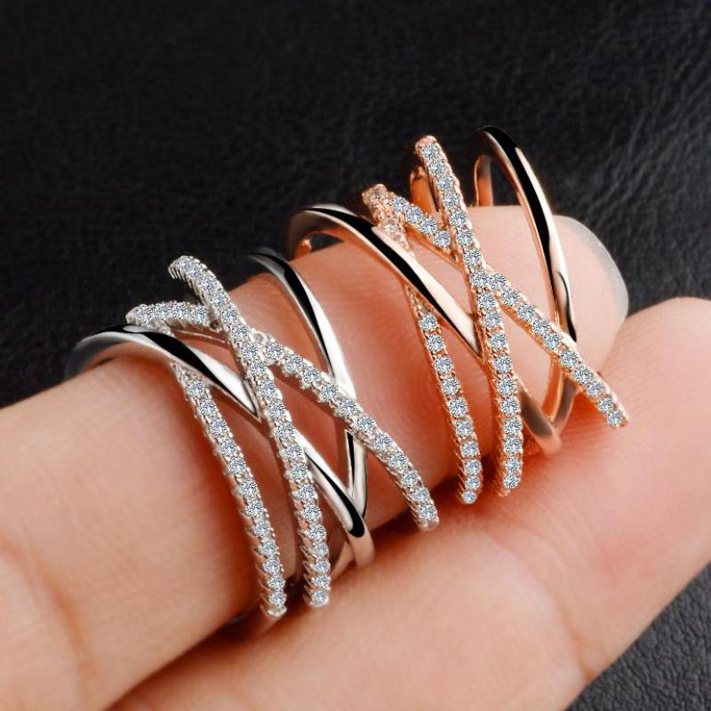 Geometric Line Crystal Ring Silver Color Rings For Women Anel Rose Gold Color Jewelry Anillos Jewellery Aneis Anillo Love Gift