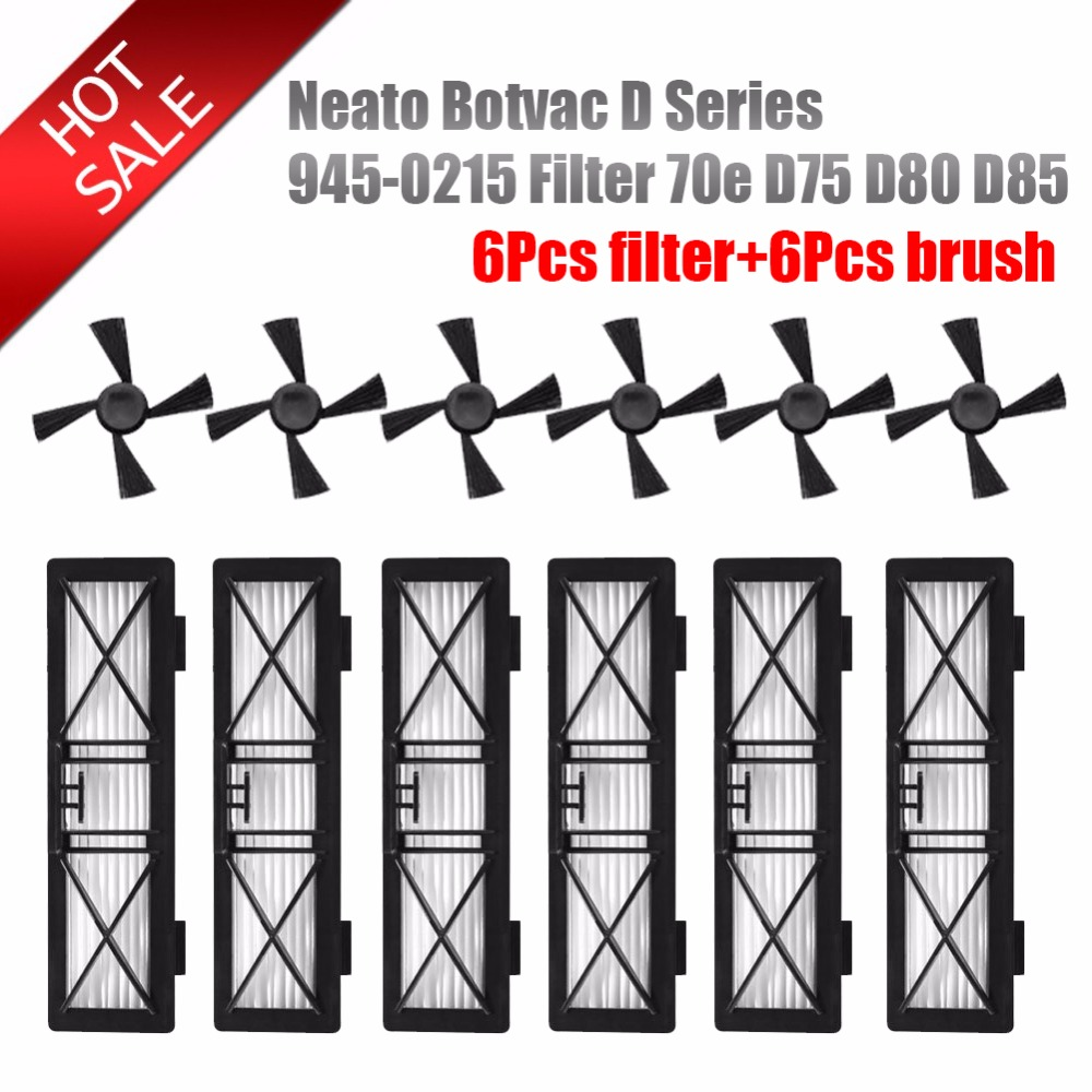 6pcs preformance robot parts dust hepa Filter & 6pcs Side Brush For Neato Botvac D Series 945-0215 Filter 70e D5 D75 D80 D85 grost d 945