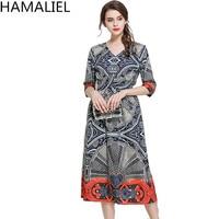 HAMALIEL Newest High Quality Fashion Summer Style Dress 2017 Runway Print Chiffon Loose Waist Half Sleeve