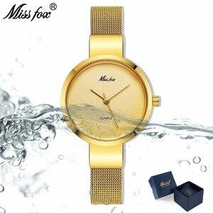 Image 2 - Miss Fox Women Gold Fashion Minimalist Watch Stainless Steel Mesh Ultra Thin Waterproof Causal Small Analog Quartz Female Watch