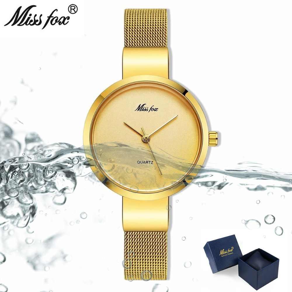 Miss Fox серебро минималистский часы Сталь тонкий Простой Стиль ультра тонкие часы Водонепроницаемый повседневные xcfs часы Для женщин Баян КОЛЬ СААТ