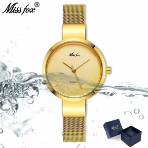 Image 2 - Mlle Fox Argent Minimaliste Montre En Acier Mince Style Simple Ultra Mince Montre Étanche Causal Xcfs Timepiece Femmes Bayan Kol Saat