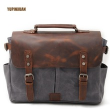 YUPINXUAN Luxury Vintage Oil Wax Canvas + Crazy Horse Leather Handbags for Men Retro Waterproof Camera Shoulder Bags Shockproof