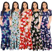 High 2018S 5XLQuality New Fashion Designer Maxi Dress Women's half Sleeve deep v neck Printed Celebrity Party Long Dress