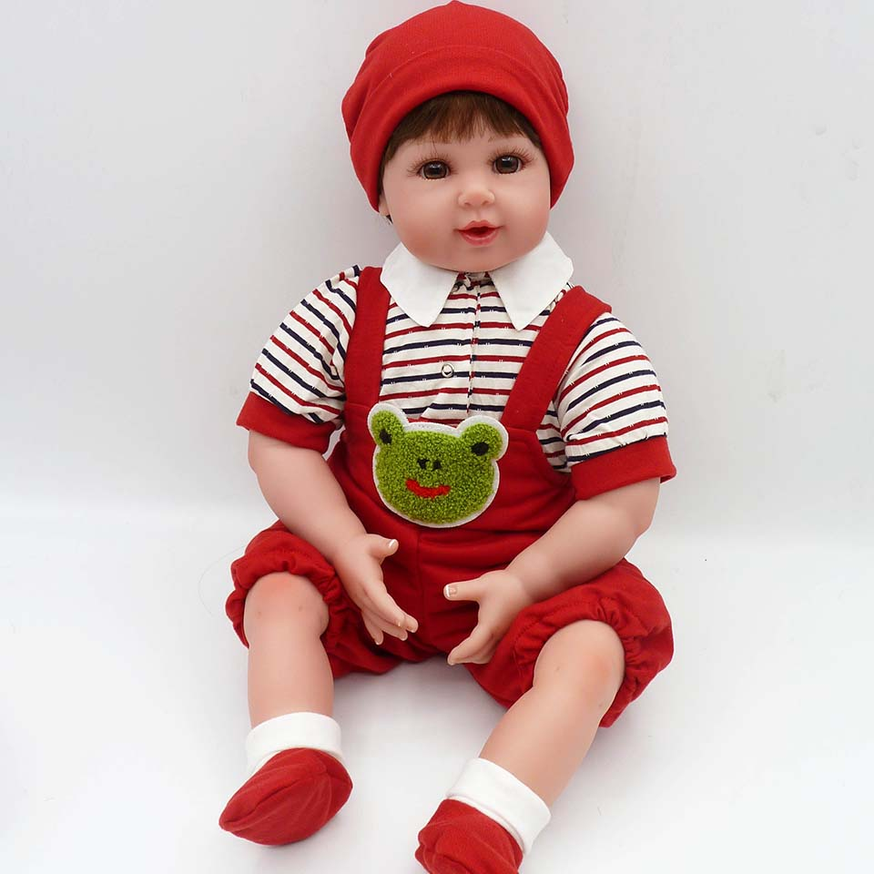 50 cm Lifelike Smiling Reborn Baby Dolls Silicone 20 Inch Babies Doll Safe Baby Toy Red Hat Baby So Truly Kids Playmates недорго, оригинальная цена
