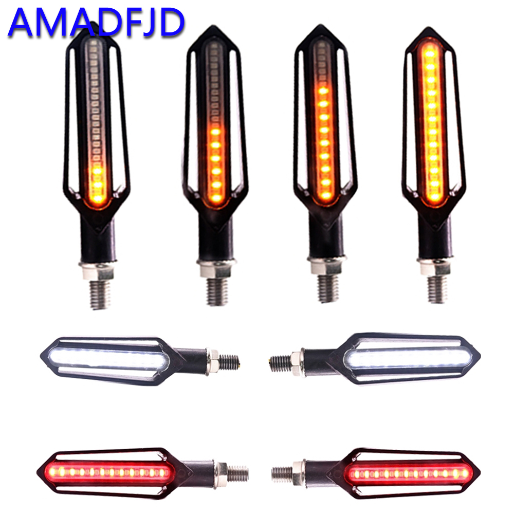 AMADFJD Led Motorcycle Turn Signals Universal Motorcycle Flasher Blinker DRL Flowing Turn Signal Stop Signal Indicator For GSX 12v 2 pin adjustable frequency led flasher relay turn signal blinker indicator for motorcycle motorbike accessories