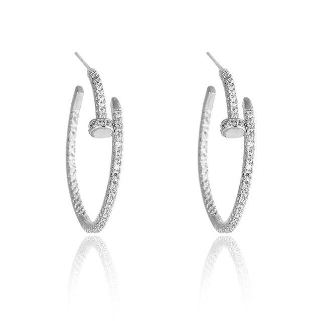 Fashion New Stylish Rhodium Plated Full Pave aaa Cubic Zirconia Nail Shape Big Hoop Earrings Wholesale