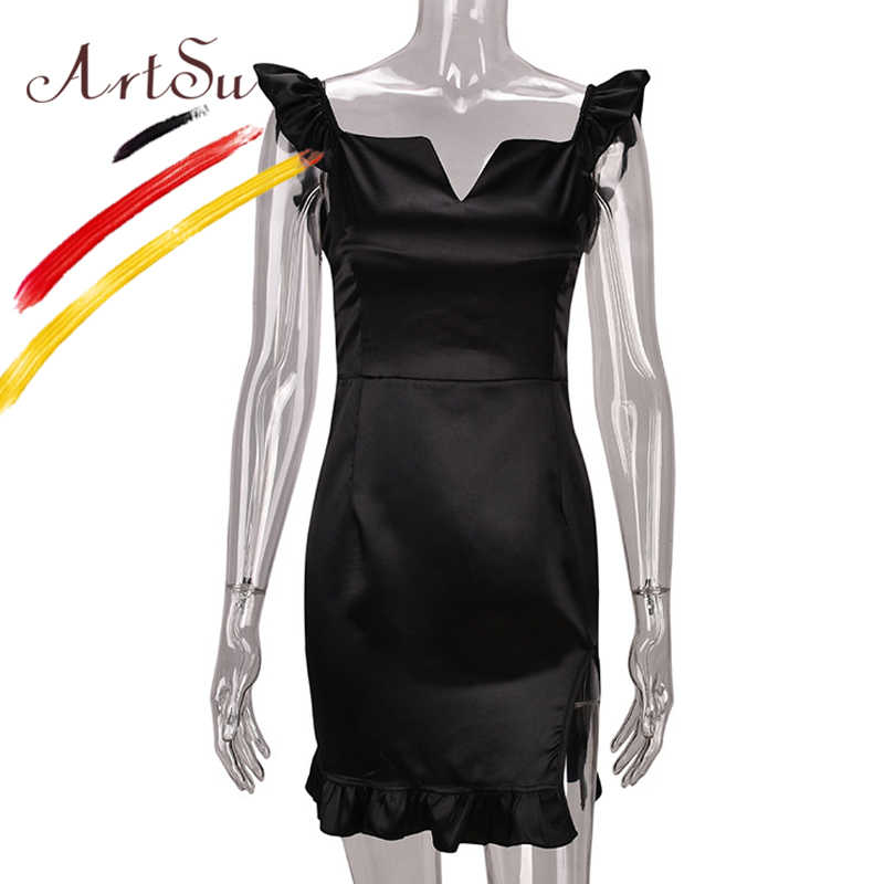 69b0d50694573 ArtSu Ruffle Summer Vestidos Verano 2018 Women Celebrity Party Dress Red  Sexy V-Neck Bodycon Satin Silk Club Dresses Short Robe