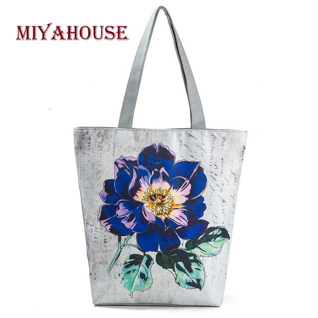 2dd084dd03 Miyahouse Vintage Floral Design Beach Bags For Women Canvas Tote Bag  Fashion Female Single Shoulder Shopping