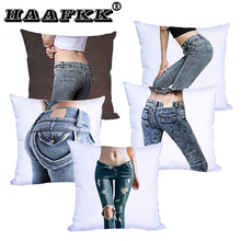Print Cushion Cover bottom and White Polyester Throw Pillow Case woman sexy Buttocks Jeans Art