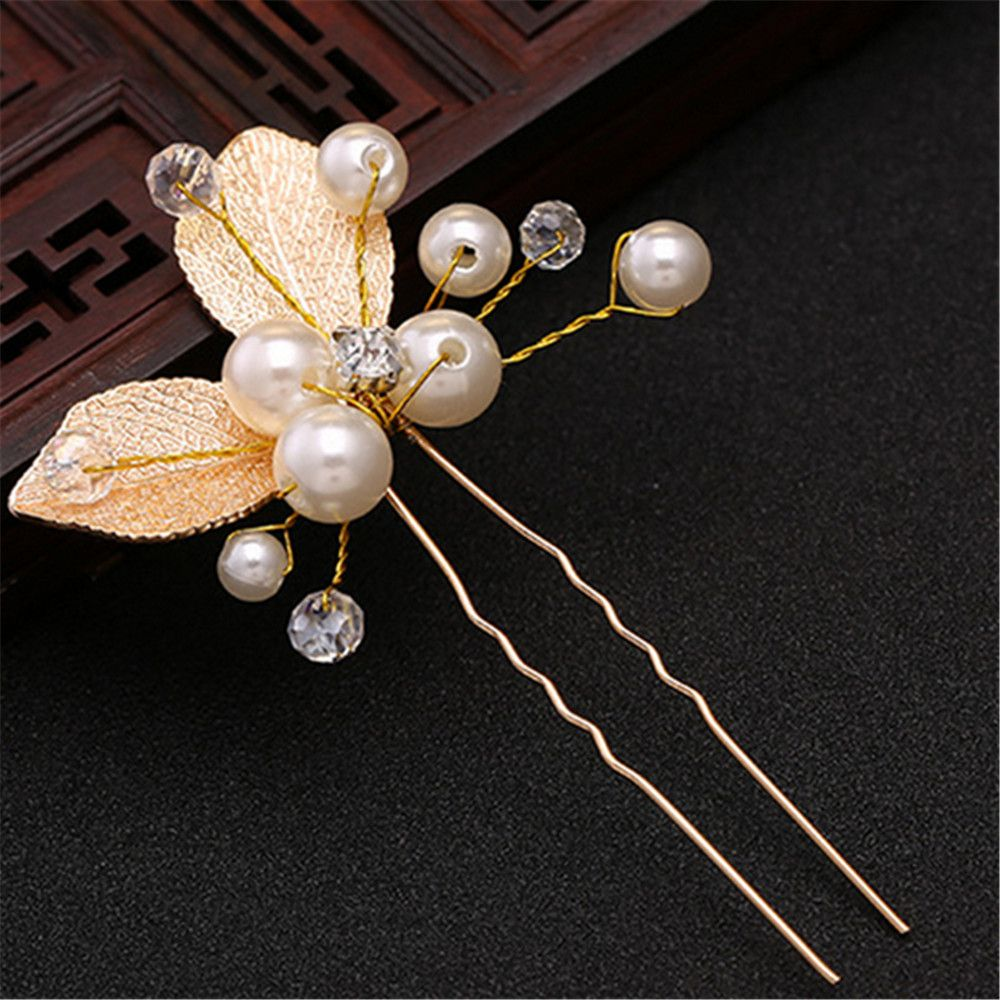 2 Colors Handmade Wedding Hair Pins Bridal Accessories Pearl Gold Leaf Crystal Hairpin Clips Comb Headdress Prom Bridal Wedding