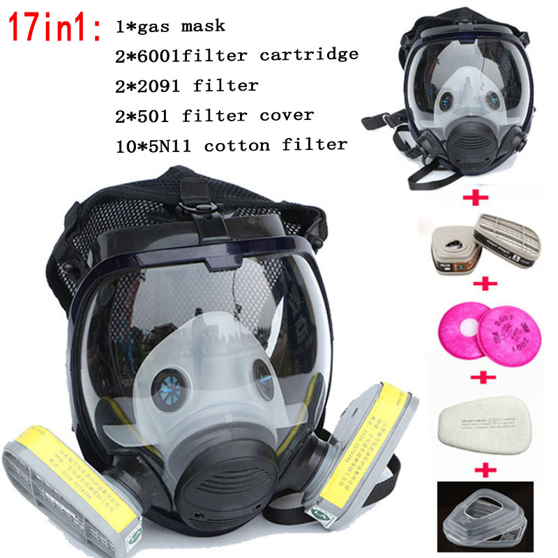 Chemical mask 6800 17suits 6001 Gas Mask acid dust Respirator Paint Pesticide Spray Silicone filter цена