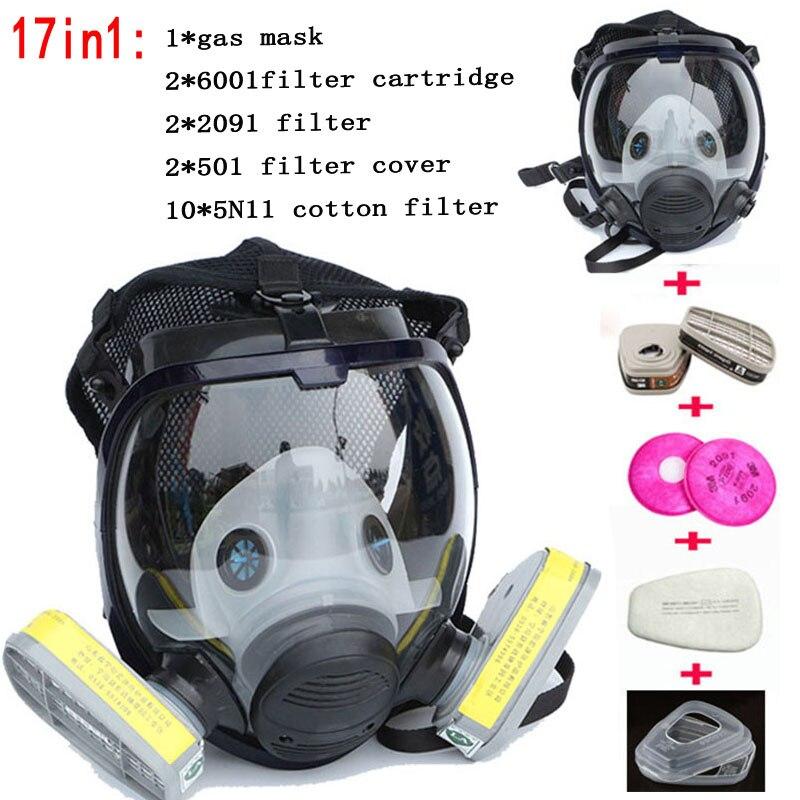 Masque chimique 6800 17 costumes 6001 Masque à gaz acide poussière Respirateur Peinture de Pulvérisation De Pesticides filtre En Silicone