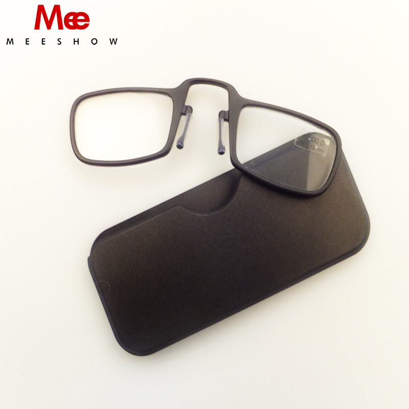 Gafas Нови универсални очила за четене на нос за подрязване Tr90 Mini On, Power + 1.0- + 3.5 портативен четец за портфейл със случай на лунети