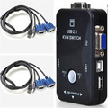 GTFS-Hot New 2-Port USB 2.0 KVM Switcher + VGA Cable Cord Mouse/KYB/VID