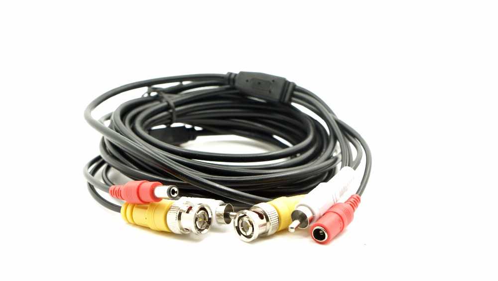 5M 15FT Audio Video Power Camera Cable BNC RCA CCTV Cable CCTV Camera Cable 10pcs Free  Shipping