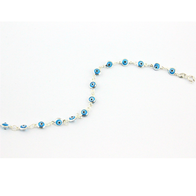 Turkish Evil Eye Bracelet Mini 5mm beads 925 Sterling Silver Classic Light Blue  Italy Murano Glass Jewelry Islamic Jewish