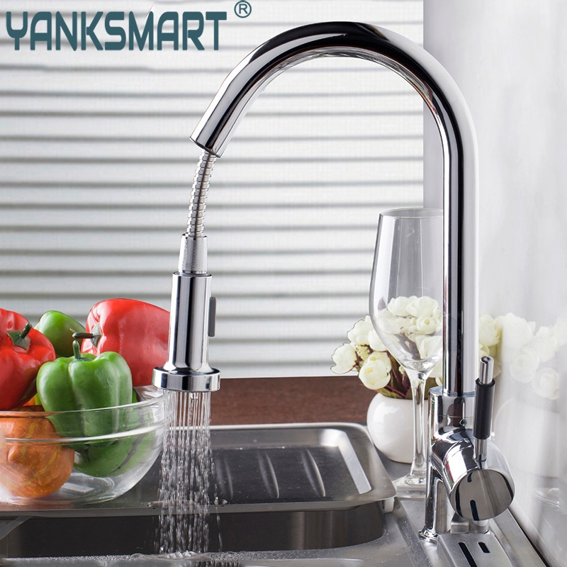 Kitchen Faucet Chrome Brass Finished LED Modern Finished Pull-out Kitchen Faucet Deck Mounted Mixer Water Taps good quality chrome finished pull out