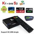 KI S2 Android Caja de la TV DVB-S2 CCCAM Newcam BISS Híbrido Inteligente TV caja Amlogic S805 Quad Core 1G 8G Wifi 3D H.265 Reproductor Multimedia XBMC