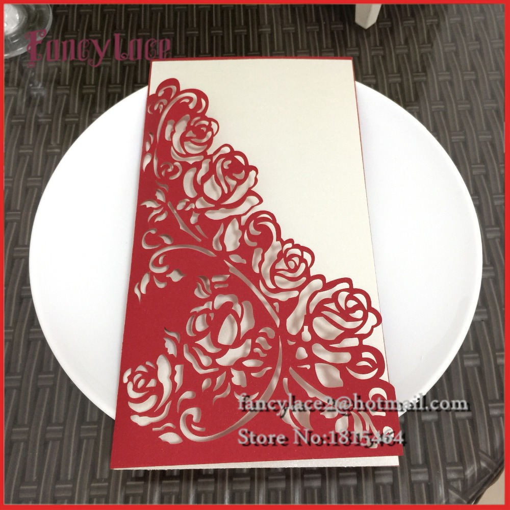 50pcs Laser Cut Luxury Flora Wedding Invitations Card Elegant Lace ...