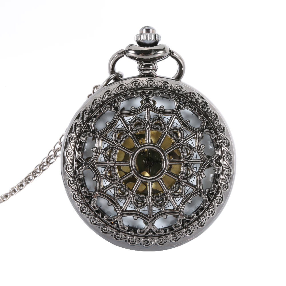 2017 High Quality Lover Hollow Quartz Pocket Watch Pendant Necklace Antique Gifts For Women Men Clock Gift  LL@17 bronze quartz pocket watch old antique superman design high quality with necklace chain for gift item free shipping