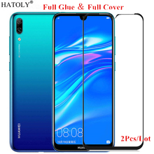 2Pcs For Huawei Y6 2019 Glass Tempered for Film Full Glue Cover Screen Protector