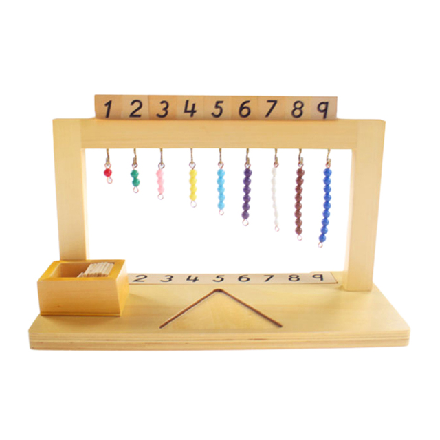 Wooden Math Material Hanger Color Bead Stairs 1-9 Preschool Educational Learning Toys For Children