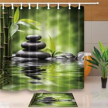 Spa Decor Zen Garden Theme Basalt Stones and Bamboo in Water Waterproof Polyester Fabric Shower Curtain Set Doormat Bath Rugs(China)