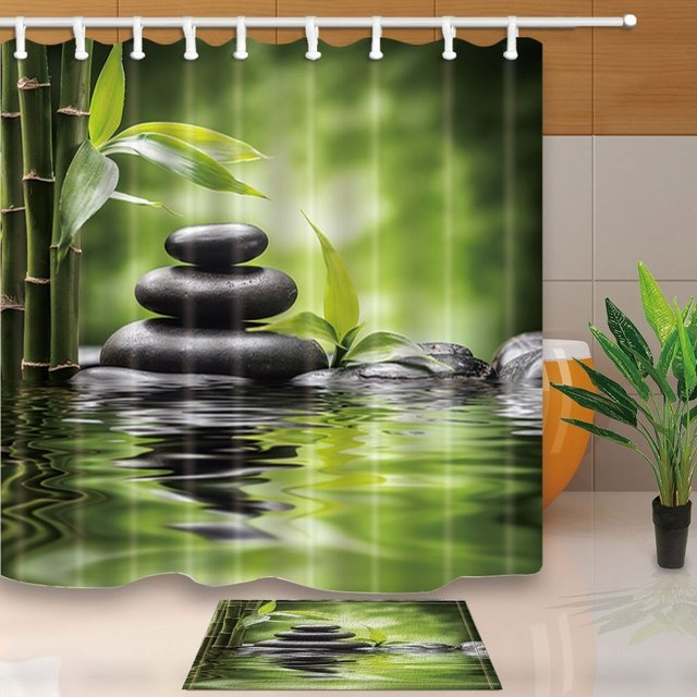 Spa Decor Zen Garden Theme Basalt Stones And Bamboo In Water Waterproof  Polyester Fabric Shower Curtain