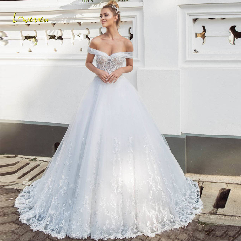 Loverxu Sweetheart A Line Wedding Dress Elegant Applique Off The Shoulder Backless Bride Dress Sweep Train Bridal Gown Plus Size