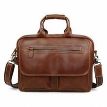 """men's genuine leather 14"""" Laptop briefcases Vintage crazy horse leather business handbag shoulder bags messenger bag LI-1324"""