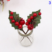 Artificial Flower Red Pearl Stamen Berries Branch for Wedding Christmas Decoration Supplies KM88