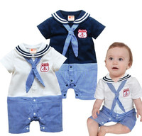 High Quality New Baby Boys Romper Clothes Summer Striped Baby Sailor Suit Cotton Bobo Choses Romper
