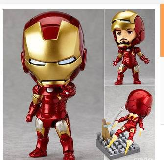Free Shipping Cute 10cm Q version  Iron Man  Clay hand model classic toys anime figure model Figure Model Collection Toy super hero iron man 3 mark 42 tony stark set cute 10cm pvc action figure collection model toy 349 free shipping 324