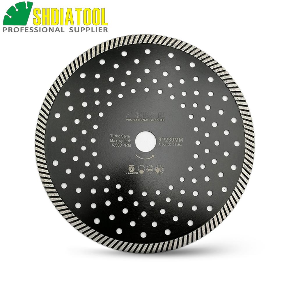 SHDIATOOL 230MM Diamond Hot Pressed Diamond Turbo Saw Blades  Granite Marble Concrete Masonry Cutting Blades 7'' Circular Saw